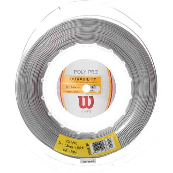 ウィルソン ポリプロ (1.25mm/1.30mm) 200Mロール 硬式テニスガット ポリエステル(Wilson POLY PRO 16(1.30mm)/17(1.25mm)String)(16y4m)