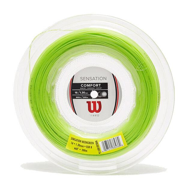 ウィルソン(Wilson) センセーション 17(1.25mm)16(1.30mm)15(1.35mm) 200Mロール 硬式テニスガット マルチフィラメント WR8301801-ネオングリーン(20y7m)