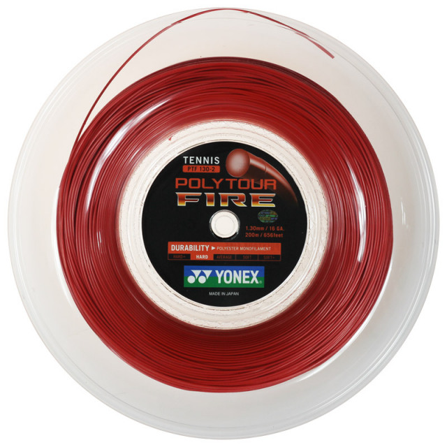 ヨネックス ポリツアー ファイア 200Mロール(1.20mm/1.25mm/1.30mm) 硬式テニスガット ポリエステルガット(YONEX POLY TOUR FIRE 200M Reel)(15y12m)