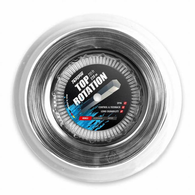 トップスピン(TOPSPIN) トップ ローテーション(1.26mm/1.31mm/1.36mm) 220Mロール 硬式テニス ポリエステルガット TR220-グレー(19y5m)