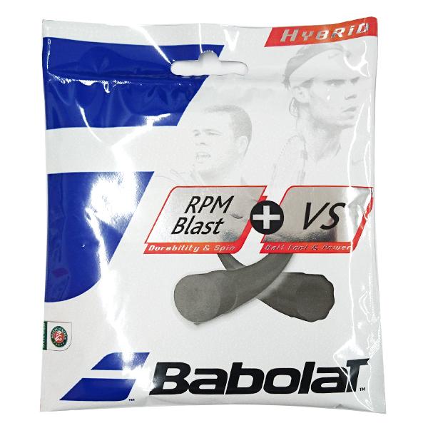 バボラ RPMブラスト+VS 硬式テニスガット ハイブリッドガット (Babolat Hybrid RPMBlast 1.25 + VS 1.30 String Black )281027/281034