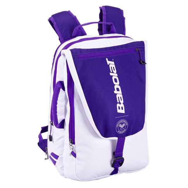 [ラケット収納可]バボラ(Babolat) 2021 PURE WIMBLEDON ピュア ウインブルドン バックパック ラケットバッグ テニスバッグ 753085-167 ホワイト×パープル(21y5m)