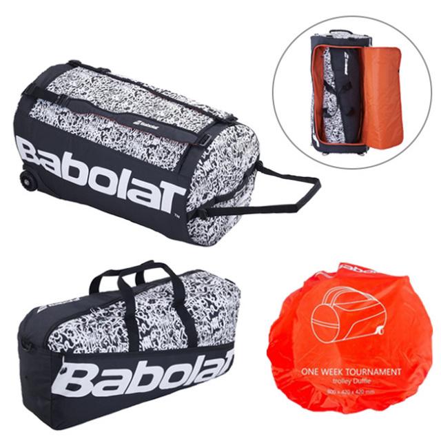 [3点セットで使いやすい!]バボラ(Babolat) ワンウィーク トーナメントバッグ トローリーダッフルバッグ 758003-145 ブラック×ホワイト(20y8m)