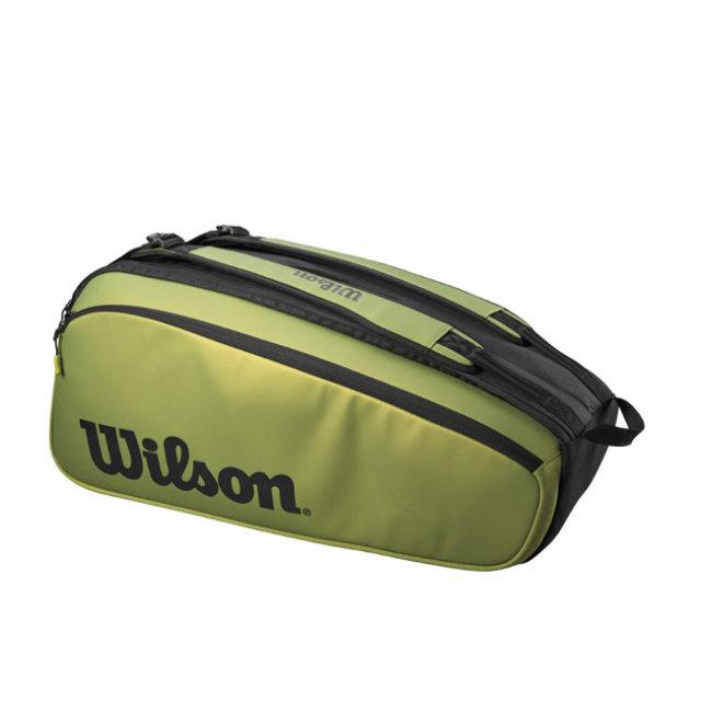 「9本収納」ウィルソン(Wilson) 2021 スーパーツアー 9PK BLADE ラケットバッグ テニスバッグ WR8016801001-グリーン×ブラック(21y10m)