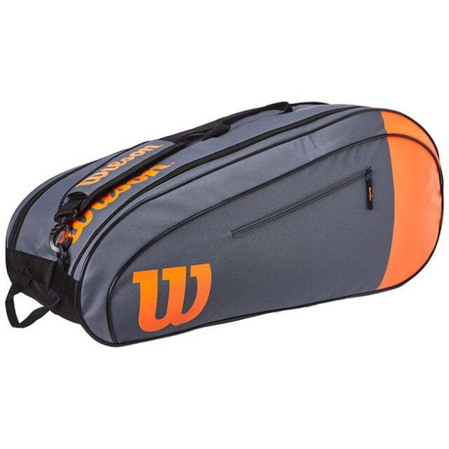 [6本収納]ウィルソン(Wilson) BURN TEAM バーンチーム ラケットバッグ テニスバッグ WR8009801001-ブラック×オレンジ(20y10m)