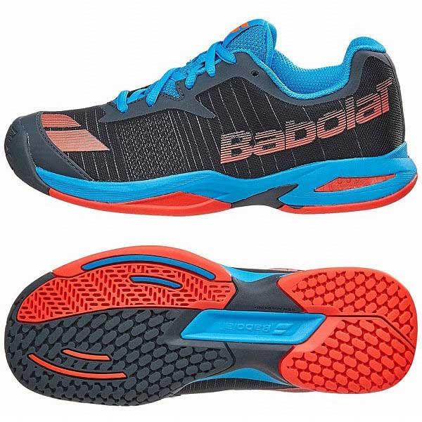 在庫処分特価】バボラ(BABOLAT)2017 ジュニア ジェット(オールコート用) 32S17648/33S17648 グレーレッドブルー(256) (17y3m)テニスシューズ