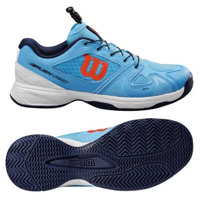 [靴ひもの調節が楽チン]ウィルソン(Wilson) ジュニア RUSH PRO JR QL ラッシュプロ (オールコート用) テニスシューズ WRS326240-ボニーブルー(20y10m)