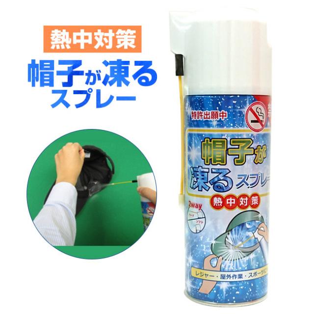 猛暑 熱中症対策!帽子が凍るスプレー(瞬間冷却剤)L-511 420ml(18y8m)キャップ用コールドスプレー】