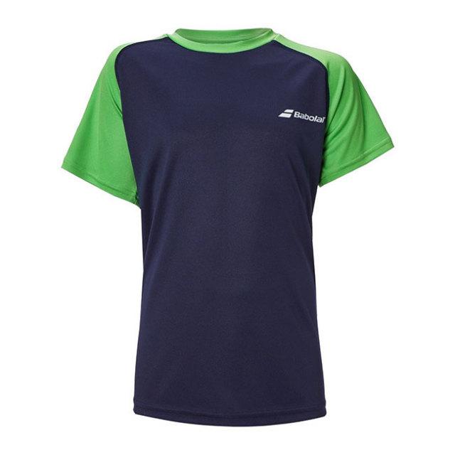 在庫処分特価】バボラ(Babolat) 2020 FW ジュニア(ボーイズ) PLAY(プレー) クルーネック半袖Tシャツ 3BTA011-4050 ピーコート×ポイズングリーン(20y9mテニス)