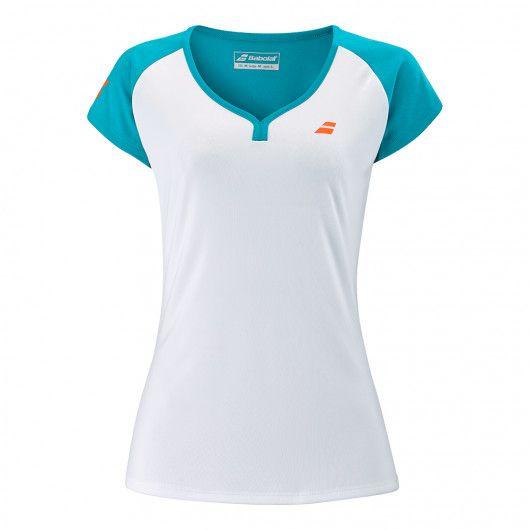 バボラ(Babolat) 2021 ジュニア(ガールズ) PLAY(プレー) カップスリーブ Tシャツ 3GTB011-1048 ホワイト×カニールベイ(21y5mテニス)