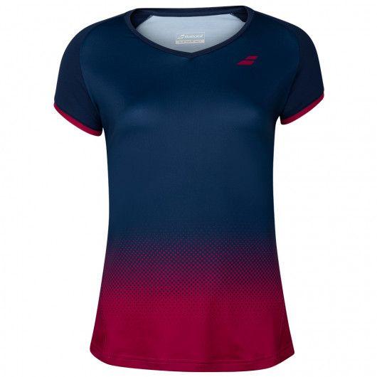 バボラ(Babolat) 2020 FW ジュニア(ガールズ) COMPETE(コンピート) キャップスリーブ 半袖Tシャツ 2GF20031-4054 エステートブルー×Vレッド(20y9mテニス)