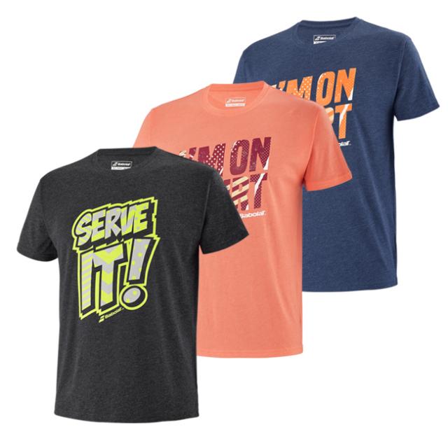 [USサイズ]バボラ(Babolat) 2021 SS メンズ EXERCISE(エクササイズ) メッセージ 半袖Tシャツ 4MS21445(21y2mテニス)