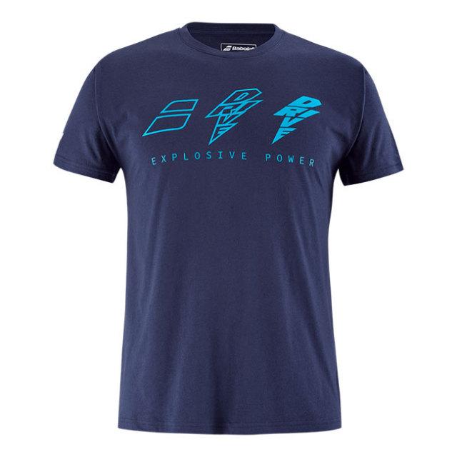 [USサイズ]バボラ(Babolat) 2021 ユニセックス DRIVE ドライブ 半袖綿混Tシャツ 4US21441X-4086(21y2mテニス)