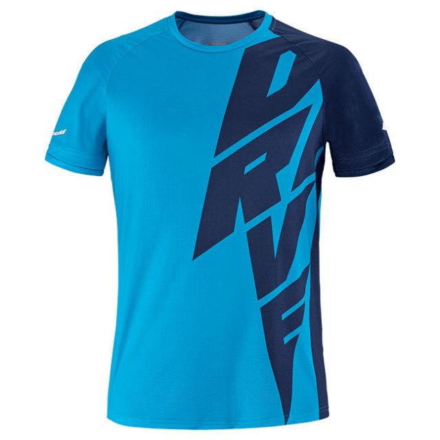 [USサイズ]バボラ(Babolat) 2021 メンズ DRIVE ドライブ クルーネック半袖Tシャツ 2MS21011X-4086 ドライブブルー(21y2mテニス)
