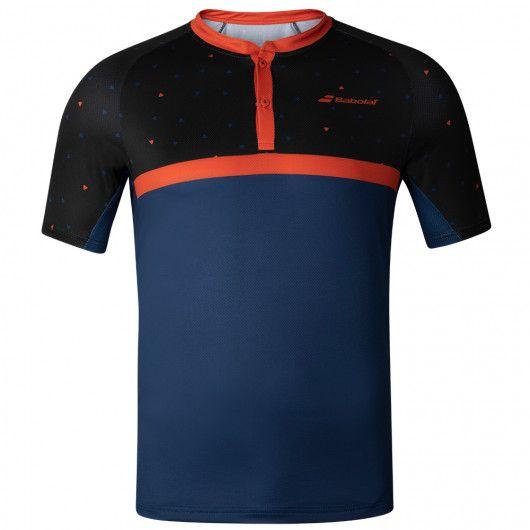 [USサイズ]バボラ(Babolat) 2020 FW メンズ COMPETE(コンピート) ヘンリーネック半袖ポロシャツ 2MF20021-2018 ブラック×エステートブルー(20y9m)