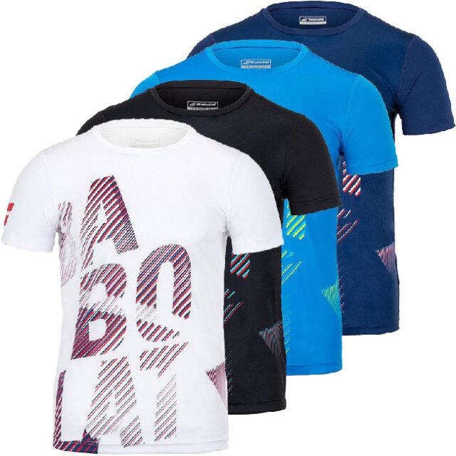 [USサイズ]バボラ(Babolat) 2020 メンズ EXERCISE(エクササイズ) ビッグロゴ クルー半袖Tシャツ 4MTA017(20y8mテニス)