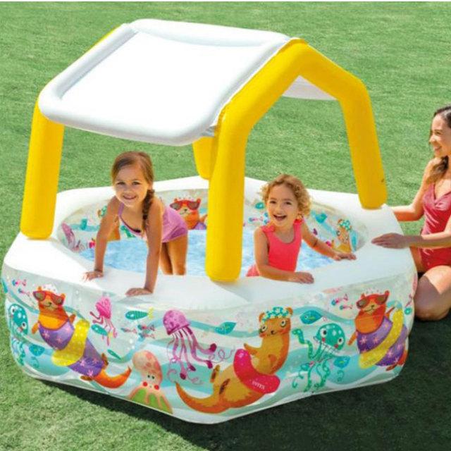 インテックス(INTEX) サンシェードプール ファミリープール ビニールプール 水遊び 六角型 家庭用プール 56493J(21y2m)