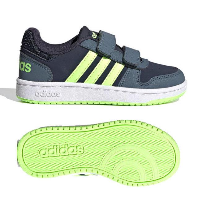 在庫処分特価】アディダス(adidas) ジュニア(ユニセックス) HOOPS 2.0 フープス 2.0 バスケットボールシューズ FW4930-インク×グリーン×ブルー(20y10m)