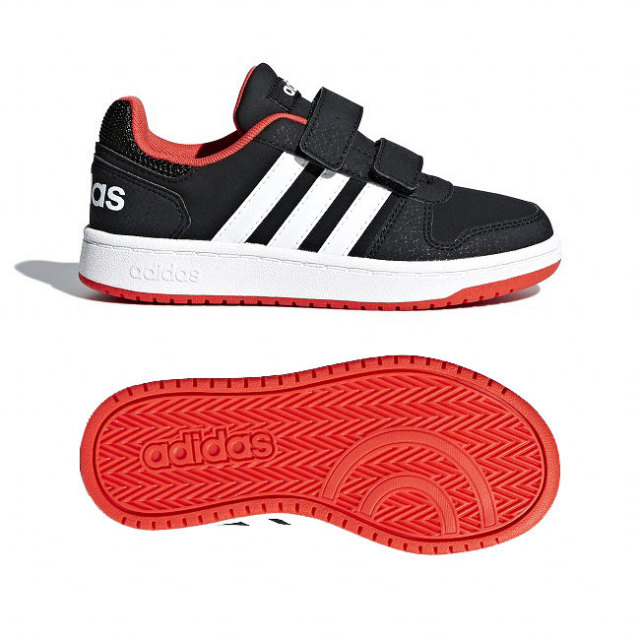 在庫処分特価】アディダス(adidas) ジュニア(ユニセックス) HOOPS 2.0 フープス 2.0 バスケットボールシューズ B75960-コアB×クラウドW×ハイレスR(20y10m)