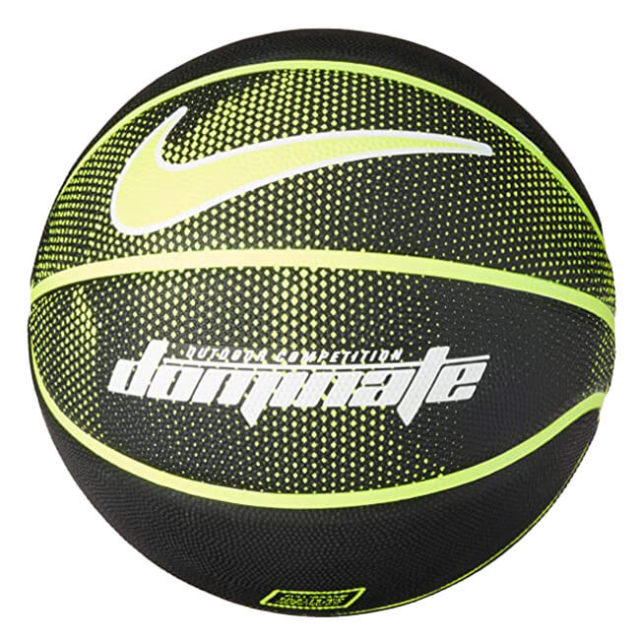 ナイキ(NIKE) dominate(ドミネート) 8P バスケットボール 中学生以上男子向け7号球 BS3004-044 ブラック×ボルト(20y6m)