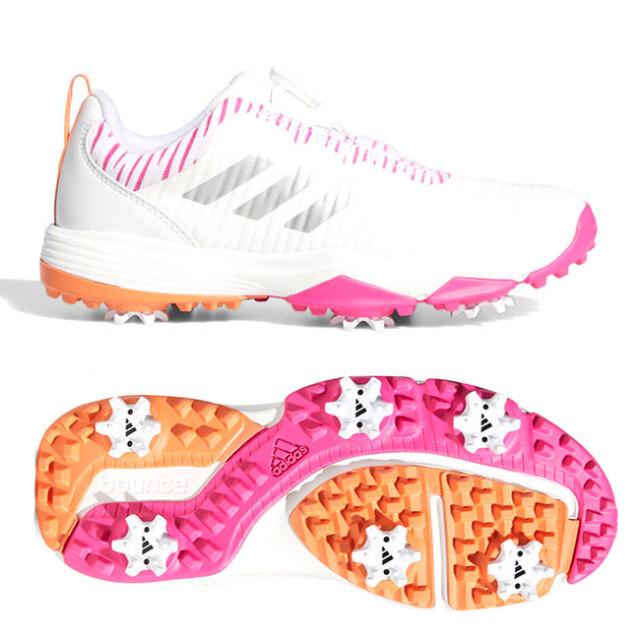 アディダス(adidas) ジュニア コードカオス ボア ソフトスパイク ゴルフシューズ EPI88-EF1221 ホワイト×シルバーメタリック×ショックピンク(20y12m)