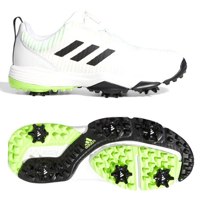 アディダス(adidas) ジュニア コードカオス ボア ソフトスパイク ゴルフシューズ EPI88-EF1219 ホワイト×コアブラック×シグナルグリーン(20y12m)