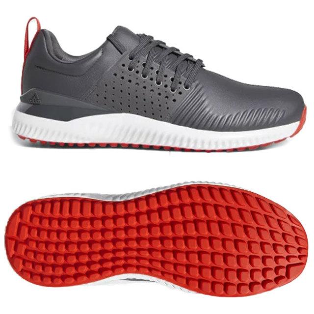 アディダス(adidas) メンズ アディクロス バウンス スパイクレス ゴルフシューズ BB7819-グレーシックス×アクティブレッド×クラウドホワイト(19y7m)