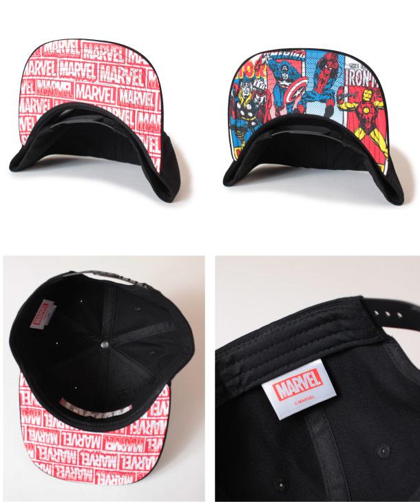 (アナグラム) ANAGRAM MARVEL マーベル フラットバイザー ベースボールキャップ 3D刺繍 スナップバック 帽子 メンズ レディース