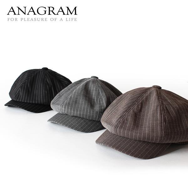 【即納】ANAGRAM アナグラム ピンストライプキャスケット ニュースキャップ 帽子