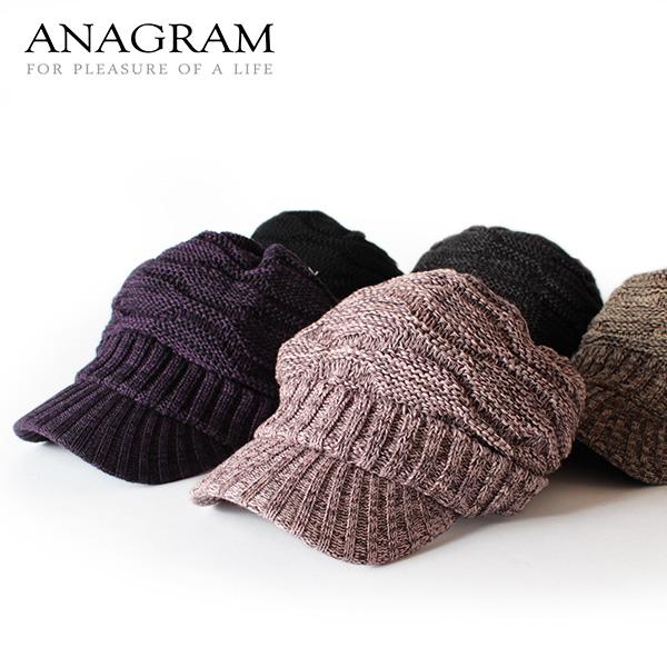 【即納】ANAGRAM アナグラム つば付きニット帽 ニットキャスケット ニットキャップ ツバ付きニット 帽子