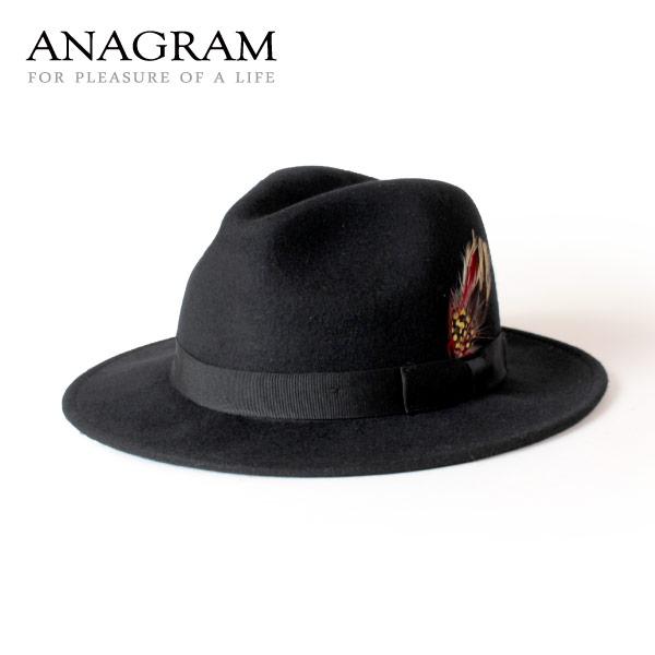 (アナグラム) ANAGRAM つば広帽子 ウールフェルトハット 中折れハット 羽根付き帽子 F57cm~59cm メンズ レディース