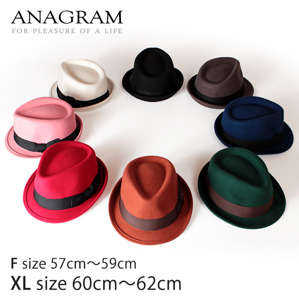【即納】ANAGRAM アナグラム ウールフェルトハット 中折れハット ティアドロップハット 大きいサイズ 帽子 羽根付き帽子