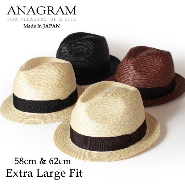 【即納】【送料無料】ANAGRAM アナグラム 日本製 ストローハット 中折れハット 麦わらハット 麦わら帽子 大きいサイズ 帽子 UV対策