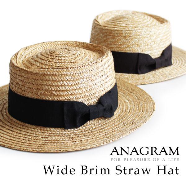 (アナグラム) ANAGRAM サイズ調整可 麦わら帽子 ストローハット ブレードハット カンカン帽子 紫外線 防止 UVカット