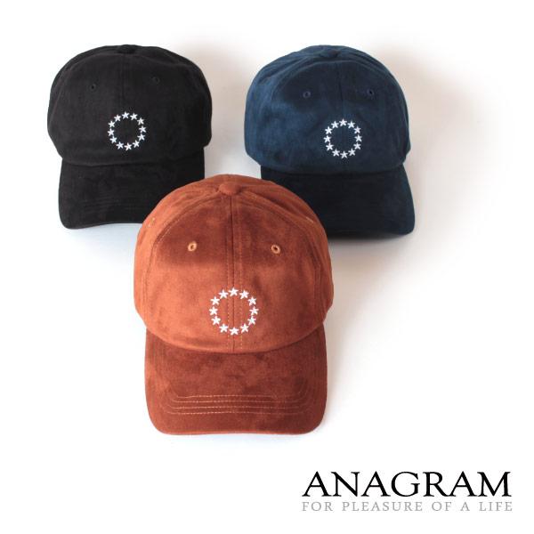 (アナグラム) ANAGRAM フェイクスエード ローキャップ 帽子 スターサイクル刺繍