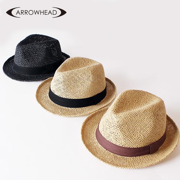 【即納】ARROWHEAD アローヘッド ペーパーハット 中折れハット 大きいサイズ 帽子 ストローハット 麦わらハット 麦わら帽子