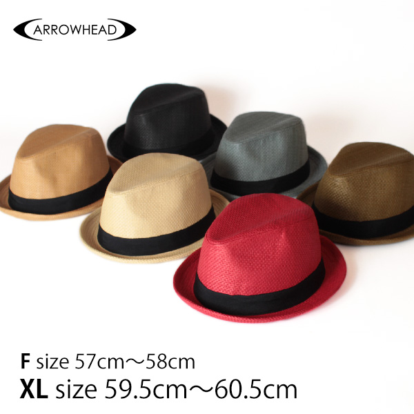 全品15%OFFクーポン対象★【即納】セール★ARROWHEAD アローヘッド ペーパーハット 中折れハット 麦わらハット 麦わら帽子 大きいサイズ 帽子 UV対策 UVカット帽子