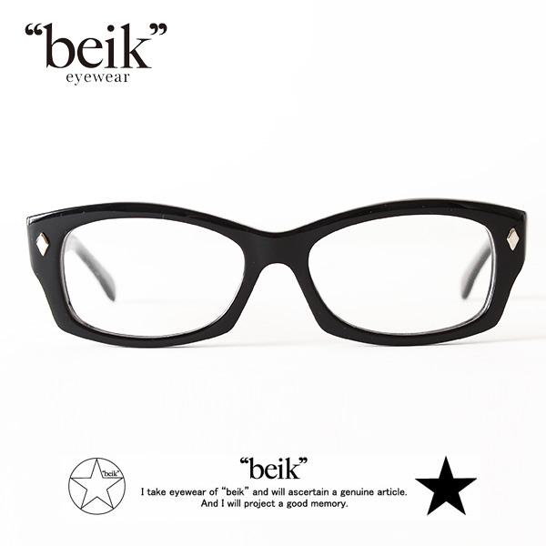 【即納】【送料無料】beik 眼鏡 めがね 伊達メガネ 黒ぶち Teddy ベイク