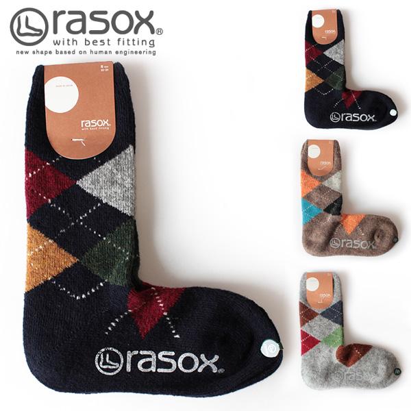 【即納】rasox ラソックス アーガイル柄 ウールソックス L字ソックス 靴下