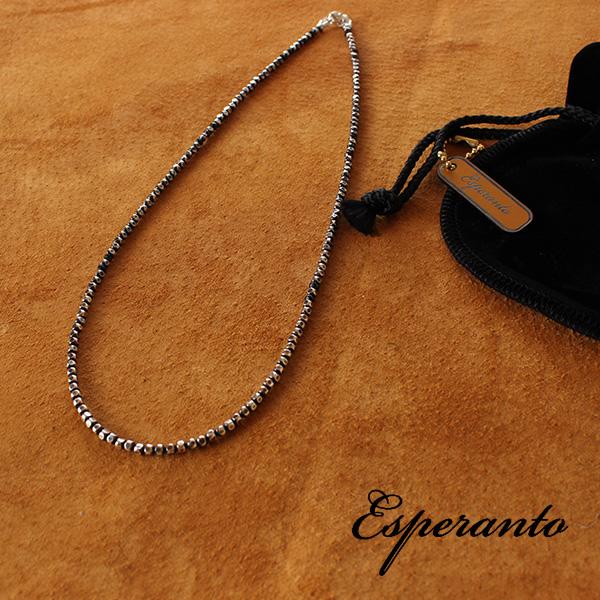 【即納】esperanto シルバービーズ ネックレス ブラックスピネル 45cm エスペラント 【メール便対応/メール便送料無料】