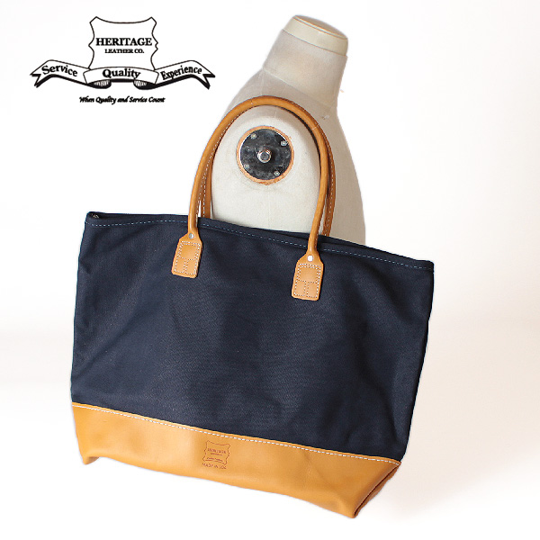 【即納】【送料無料】Heritage Leather ヘリテージレザー ビッグトートバッグ ヌメ革×18オンスキャンバス 本革 レザー 鞄