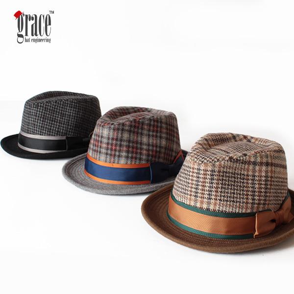 【即納】grace hats グレースハット チェック柄ウール中折れハット フェルトハット CHARLESTON HAT 帽子