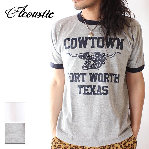 【即納】Acoustic アコースティック メンズ リンガーTシャツ カットソー COW TOWN RINGER TEE