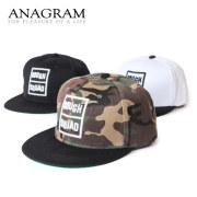 (アナグラム) ANAGRAM フラットバイザー ベースボールキャップ 3D刺繍 スナップバック 帽子