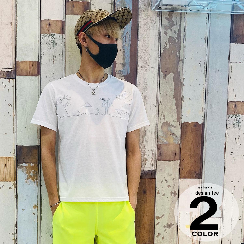 銀糸刺繍×ラインストーンC/N Tシャツ