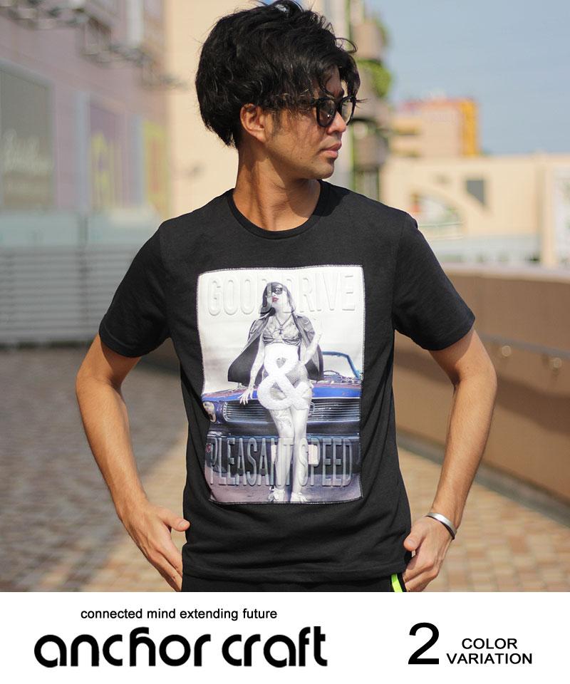 OLDカーガールフォトエンボス半袖Tシャツ