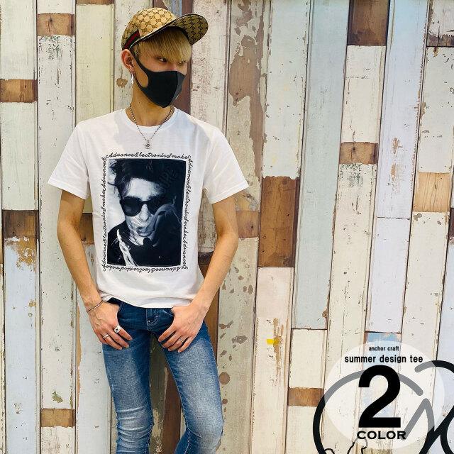 メンズフォトエンボスチェーン刺繍Tシャツ
