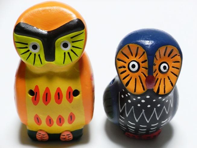 フェアトレードの動物オカリナ ふくろう(ブルー&オレンジ)