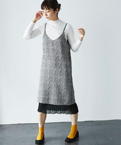グレンチェック裾シフォンワンピース 73-119540