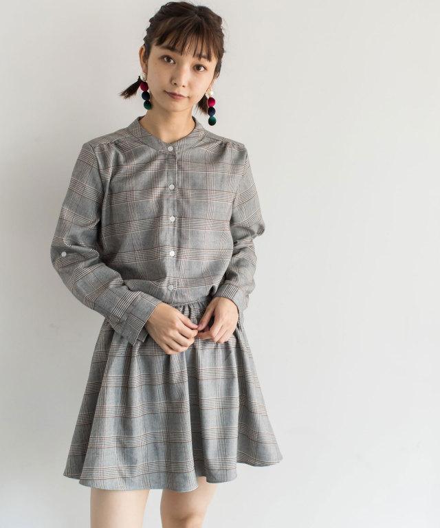 グレンチェックシャツワンピース 73-119729 【SALE品につき返品/交換不可】